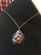 Vintage Blue Cloisonne Enamel Rose and Butterfly Pendant Gold Tone Necklace
