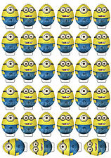 34 x Minions Easter Eggs Stand Up Edible Premium Wafer Card Cake Cupcake Toppers