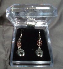 PINK BABY GIRL FEET EARRINGS  French Hooks 2 PINK Crystals NEW in BOX Pregnant