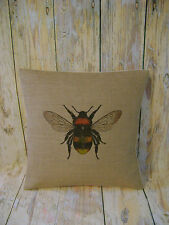 Bumble Bee - Hessian cushion cover vintage shabby chic