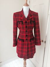 Rena Lange size 6 red black plaid boucle skirt suit