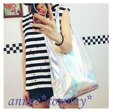 Bling HOLOGRAPHIC hologram Rainbow shoulder Silver shopping bag Tote laptop Bags