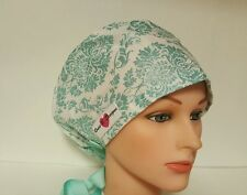 TURQUOISE  GLITTER  DAMASK/ PIXIE HAT / SCRUB  / MEDICAL /CAP /SURGICAL/