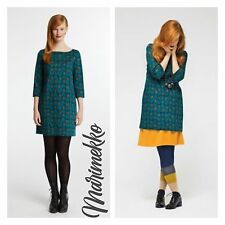 Marimekko VIKLO Teal Blue Mod Cotton 3/4 Sleeves Shift Mini Dress Size XS