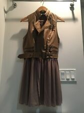 Womens Langford Market Maude Faux Leather Jacket Vest Dress Size Small S Chiffon