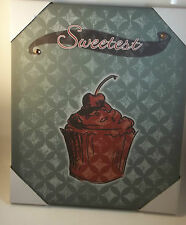 SWEETEST CUPCAKE W/ CHERRY CANVAS WALL ART WOOD FRAMED PICTURE