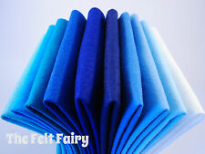 Wool Mix 9 inch x 10 Blue Felt Squares Mixed Pack + Matching Thread FREE P&P