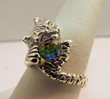 Unique Sterling Silver Ring w/ Cat's Eye Mystic Topaz Crystal - Size 8.5 #SR22