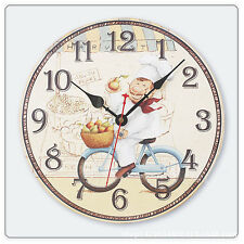 Kitchen Chef Wood Wall Clock Cooking Chef Silent Wooden Wall Clock Home Decor