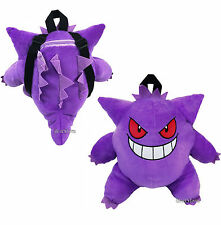 Pokemon Go Gengar Purple Ghost Plush Zipper Pouch Backpack Cosplay Bag Purse NEW
