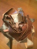 90g DARK BROWN SMALL LEATHER/SUEDE SCRAPS/REMNANTS/OFFCUTS/PIECE/REPAIR PATCH
