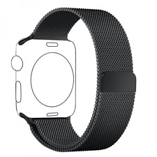 Bracelet pour Apple Watch 42mm Noir, Magnétique Milanais Acier NEUF