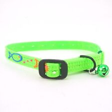 """HAMILTON Hand Painted Nylon Safety Cat Collar with Bell, 14"""" x 3/8"""", Lime Green"""