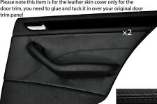BLACK STITCH 2X REAR DOOR CARD TRIM SKIN COVER FITS BMW E46 SALOON 98-05