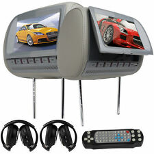 "9""Car Pillow Headrest Monitors Dual DVD CD Player Beige 2x IR Headsets ca3"