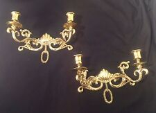 PAIR of Traditional Brass Candle Holder Wall Sconces