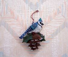 Bird Pine Cone Blue Jay Christmas String Ornament Metal Regal Art