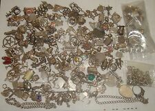 HUGE LOT OF VINTAGE SILVER CHARM x 150, BRACELETS, PENDANTS ETC - OVER 600 GRAMS