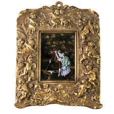 French Hand Painted Enamel on copper Plaque Framed, 19th Century Courting Scene
