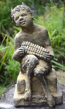 PAN Puck FAUNUS Statua Decorazione Giardino Frost prova Stone Pan che gioca il suo TUBI