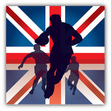 "Rugby Players Silhouette UK Flag Car Bumper Sticker Decal 5"" x 5"""