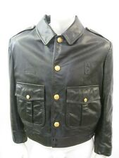CHICAGO POLICE Black Leather Motorcycle Jacket Size 40 S