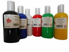 GLOSS ACRYLIC PAINT SET 6 x 150ml BOTTLES RED BLACK YELLOW BLUE GREEN WHITE ACRG