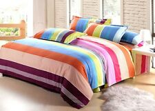 red yellow blue Stripe flower Cotton queen size Bed set Duvet Quilt Cover sheet