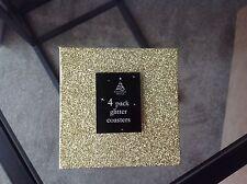 4 paillettes d'or effet coasters noël table de salle à manger décoration sparkle