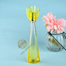Vintage Crystal Glass Yellow Perfume Spray Bottle Atomizer Empty Lady Gift 16ml