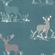 Art Gallery ~ Blithe Dear Deer Teal Fabric / quilting stag green dressmaking