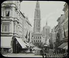Glass Magic Lantern Slide STREET SCENE NO2 ANTWERP C1890 BELGIUM PHOTO