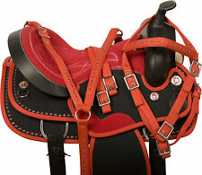 16 17 18 WESTERN PLEASURE TRAIL BARREL RACING HORSE SADDLE TACK SET BLACK RED