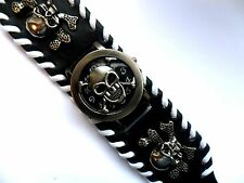 Unusual SKULL FACED  Watch  Black Leather Strap