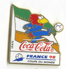 1998 WORLD CUP COCA COLA IRAN FLAG PIN CARRIED BY MASCOT FOOTIX NEW IN BAGS