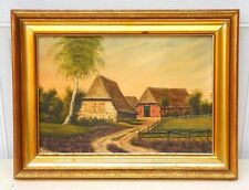 Vintage Signed Heinz 1953 European Cottage Oil Painting on Canvas Framed