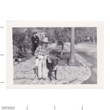 Old Vintage Photo STREET SCENE WOMAN BOY IN COWBOY HAT DOG ON SIDEWALK