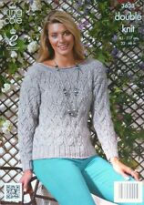 KNITTING PATTERN Ladies Long Sleeve Lacy Jumper Galaxy DK King Cole 3633