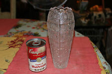 Brilliant Cut Glass Vase-Saw Tooth Top-Multiple Pin Wheel Cuts-Unusual-LQQK