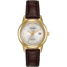 Ladies Citizen Eco-Drive Classic Brown Leather Silver Dial Date Watch FE1082-05A