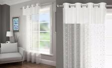 DIAMANTE SEQUINS VOILE NET CURTAIN EYELET RING TOP PANEL WHITE SILVER BLACK RED