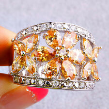 Flower Cut Cocktail Morganite & White Topaz Gemstone Silver Fashion Ring Size 10
