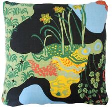 """Josef Frank Anakreon Fabric Cushion Cover Black Yellow Blue Red Floral Linen 16"""""""