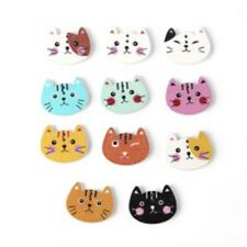 10 Cat 2 Novelty Buttons Kids Dolls Craft Knitting Sewing Toppers Cards Favors