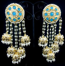 TURQUOISE PEARL BOLLYWOOD GOLD TONE EARRINGS PARTY WEAR ETHNIC JHUMKI JEWELRY