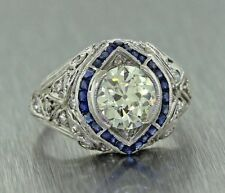 2.48CT BRILLIANT CUT BLUE SAPPHIRE ART DECO ENGAGEMENT RING IN 14KT WHITE GOLD
