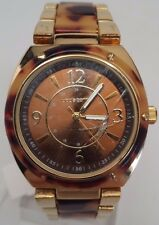 Liz Claiborne Lc1086 Ladies Gold Tone Tortoise Shell Watch BROKEN SOLD AS IS!!!