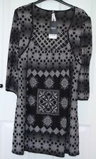 BNWT - Next Black & White Embroidered Beaded Pattern Tunic Dress - Size 16