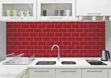 Red & White Subway Tile Effect, Tiling on a Roll, Bathroom / Kitchen Wallpaper