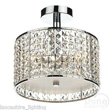Stylish Crystal Bathroom Ceiling Light With Crystal Faceted Glass IP44 3 x 25W